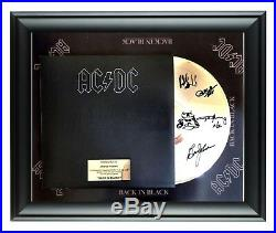 AC/DC Autographed Back In Black Album LP Gold Record Award Angus Young