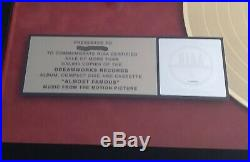 ALMOST FAMOUS Soundtrack RIAA Gold Record Award Plaque Cameron Crowe
