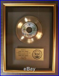 Alice Cooper I Never Cry 45 Gold RIAA Record Award To Warner Brothers Records