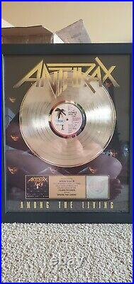 Anthrax Among The Living RIAA Gold Record Certified Sales Award