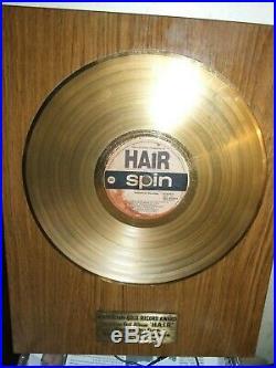 Australian Gold Record Award Hair Spin Records Plaque 1970's Rare