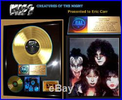 Authentic KISS, CREATURES OF THE NIGHT RIAA GOLD RECORD AWARD to ERIC CARR