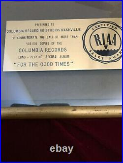 Authentic RAY PRICE Gold RIAA Record Award For The Good Times