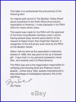BEATLES RIAA Abbey Road GOLD RECORD AWARD Presented to the RIAA WithAuthentication