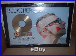 BLEACHERS RIAA GOLD RECORD AWARD I WANNA GET BETTER 40x28 CUSTOM AWARD SEALED