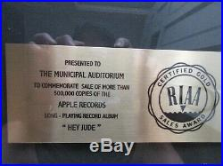 Beatles Hey Jude Gold Record Award
