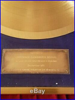 Creedence Clearwater Revival Original SWEDEN Gold Record Award SUPER RARE CCR
