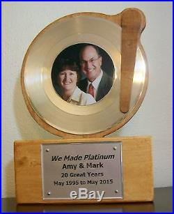 Custom Gold or Platinum 45 rpm Record Award Display Trophy RIAA Style Disc