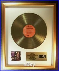 David Bowie Ziggy Stardust LP Gold Non RIAA Record Award RCA Records To David