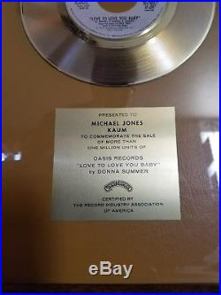 Donna Summer Love to Love You Baby Oasis/Casablanca Gold Record Award