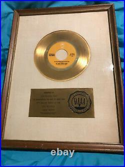 EDGAR WINTER 1972 RIAA Gold 45 Record Award for FRANKENSTEIN Johnny Winter