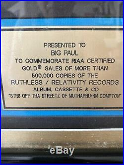 Easy-E Str8 Off The Streets Gold Sales Award RIAA Award rare Ruthless Records
