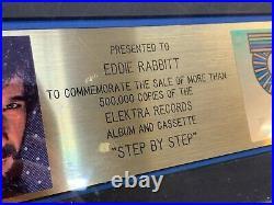 Eddie Rabbitt RIAA Gold Record Award 500,000 sales award for Step by Step