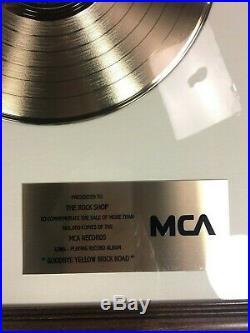 Elton John Goodbye Yellow Brick Road Gold Record 500,000 Sales In-House Award