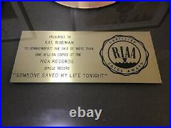 Elton John original 1975 RIAA gold award for someone saved my life tonight