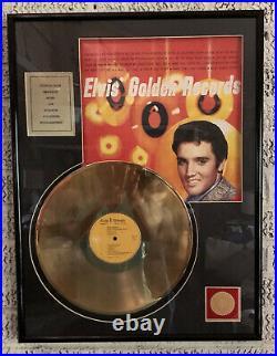 Elvis Presley 24 Kt Gold Plated Golden Records Recognition Award