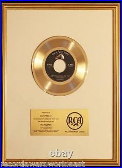 Elvis Presley Ain't That Lovin' You Baby 45 Gold Non RIAA Record Award RCA