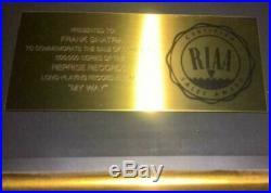 Frank Sinatra RIAA Record Album Gold Award Presented To Frank Sinatra