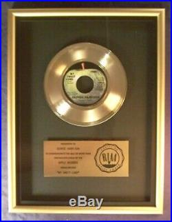 George Harrison My Sweet Lord 45 Gold RIAA Record Award Apple Records