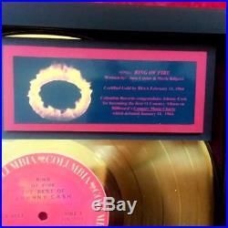 JOHNNY CASH Ring of Fire GOLD Record Award 1964 Original Authentic COA