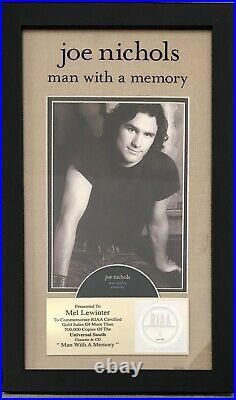 Joe Nichols Man With A Memory RIAA Gold Record Award Country Music