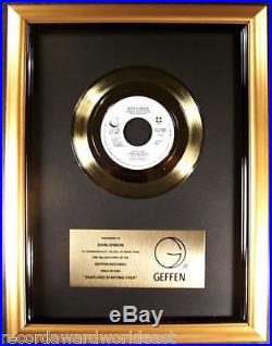 John Lennon Just Like Starting Over 45 Gold Non RIAA Record Award Geffen Records