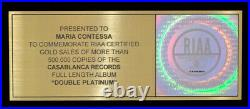 KISS DOUBLE PLATINUM Authentic RIAA GOLD RECORD AWARD Paul Stanley GENE SIMMONS