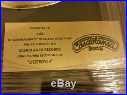 KISS Destroyer Gold Record Award Non RIAA Mint condition