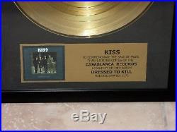KISS Dressed to Kill 24K Gold Record LP Award! Sehr schönes Teil! USA