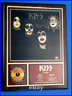 Kiss Gold Record Album Sales Award Collectors Series Riaa Certified June 1977