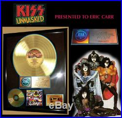 Kiss, Unmasked Genuine Riaa Gold Record Award To Kiss Drummer Eric Carr