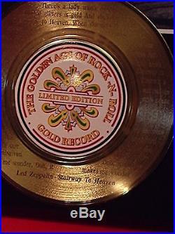 LED ZEPPELIN GOLD RECORD AWARD STYLE MEMORABILIA LASER ETCHED WithSONG LYRICS ART