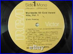 LOT of 2 THE KING ELVIS / 50 Gold Award Hits Vol 1 AND 2 / 8 Mono LPs in NM