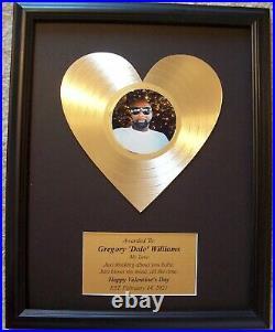 Laser Cut Heart Gold LP Record Award Trophy Valentine's Wedding Anniversary Gift
