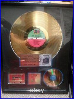 Led Zeppelin RIAA Gold Sales Award Atlantic Records with Frame