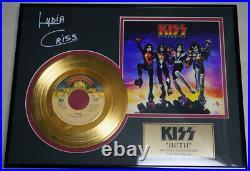 Lydia Criss Signed Beth 24KT Gold Record Award KISS Peter Criss
