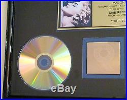 Madonna Certified Riaa Gold Lp Record Album Award Gold Disc True Blue