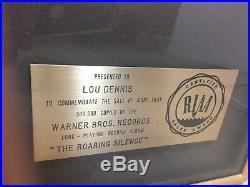 MANFRED MANN'S EARTH BAND RIAA GOLD DISC ALBUM RECORD AWARD -Roaring Silence