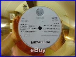 Metallica Gold Record Lp Vinyl Bpi Award Black Album To Bob Rock (riaa)