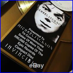 Michael Jackson INVINCIBLE Gold Record Music Award Album Disc