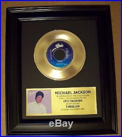 Michael Jackson THRILLER Gold 45 rpm Record + Mini Album Sleeve Not a Award
