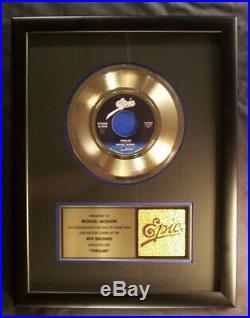 Michael Jackson Thriller 45 Gold Non RIAA Record Award Epic Records To Michael