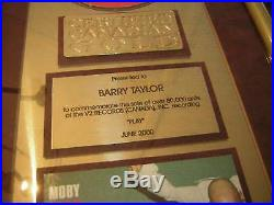 Moby Cria Record Award Canadian Play 2000 Electric Music Non Riaa Gold Sales