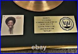 NATALIE COLE 1976 RIAA Gold Record Sales Award / NATALIE, RIAA Floater Award
