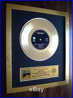 Nirvana Smells Like Teen Spirit 24kt Gold 7 Single Record Disc Award