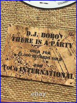 Official GOLD record award DJ BOBO There Is A Party (no RIAA BPI)
