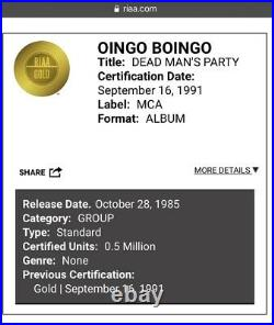 Oingo Boingo Dead Mans Party Album RIAA Gold Record Award Danny Elfman