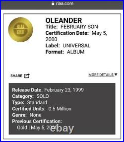Oleander February Son RIAA Gold Record Award