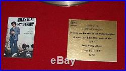 Original Gold record Billy Joel Disc 52nd Street Bpi No Riaa Sales Award 1979