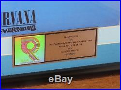 Original Nirvana Nevermind RIAA Gold Record Sales Award Nr Mint CMJ Kurt Cobain